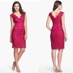 Tadashi Shoji Lace Overlay Embroidered Party Dress